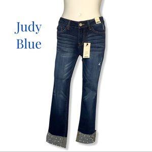 NWT Judy Blue Pearl Cuff Jeans